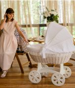 Baby Stubenwagen XXL HOME - Holzfarbe Weiss - Inklusive Bettset Weiss mit grauen Sternen