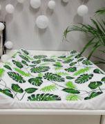 Wickelauflage - Blätter grün/weiss