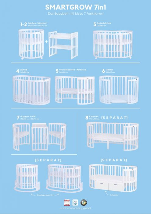 Babybett Smartgrow 7in1 Weiss Inklusive Bettset